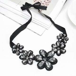 Grey crystal bohemia black ribbon necklace