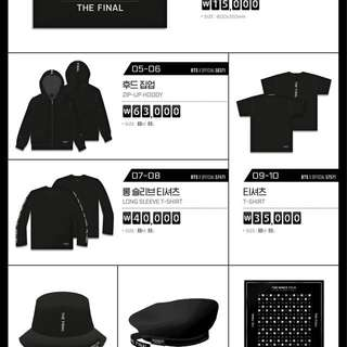 BTS THE WINGS TOUR - THE FINAL OFFICIAL MERCHANDISE