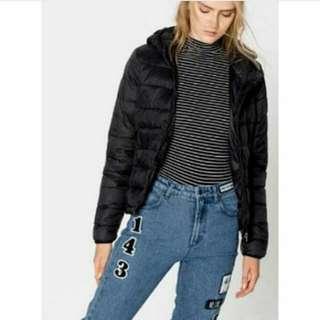 Pull & Bear Black Puffer Hoodie Jacket