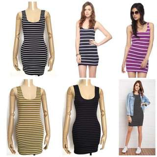 Forever21 Striped Bodycon Tank Dress MUSTARD