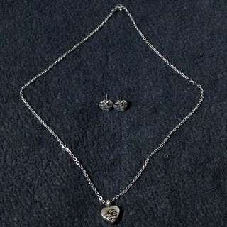 Stainless Heart Necklace & Earrings Set