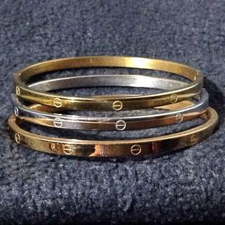 Stainless Bangles Set Tri-color