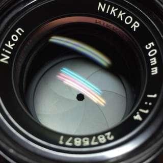 鏡頭 Nikon 50mm f1.4 non ai 含 前後蓋