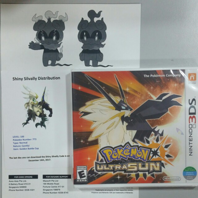 3DS Games Pokemon ultra sun with shivally code and marshadow