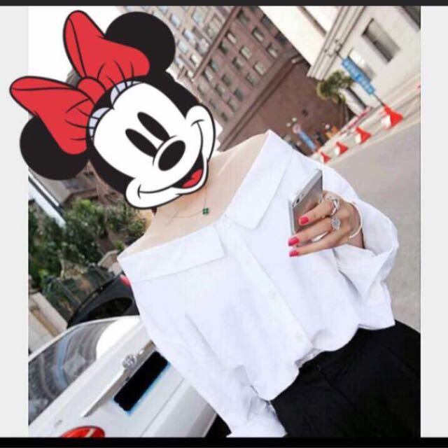 韓版✔️平口純白襯衫上衣