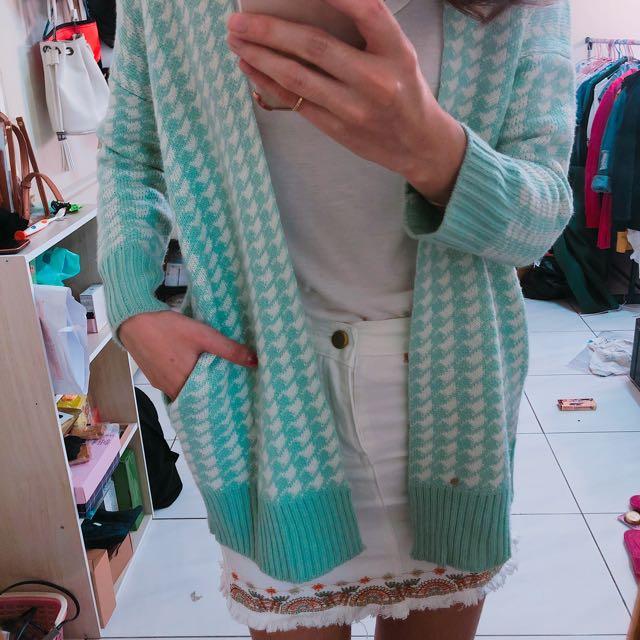 綠色格紋針織外套
