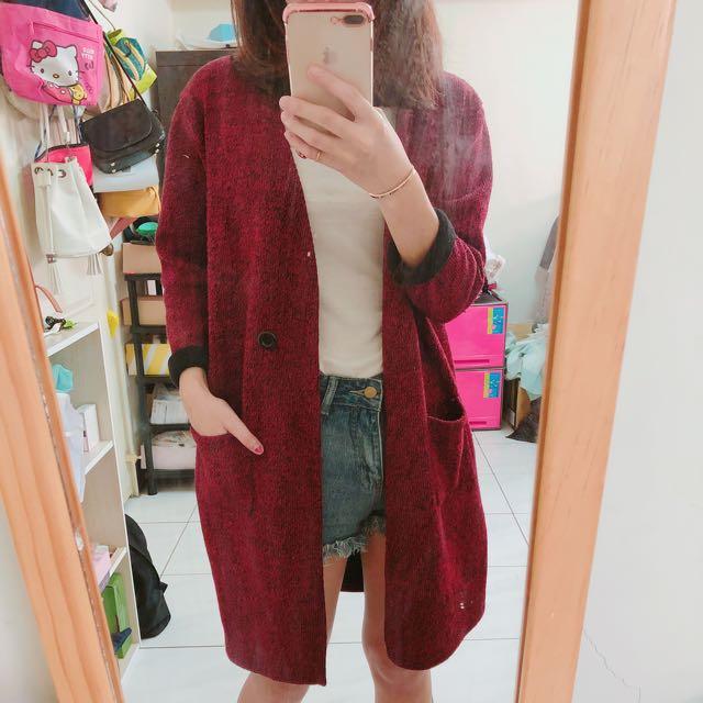 紅色針織外套