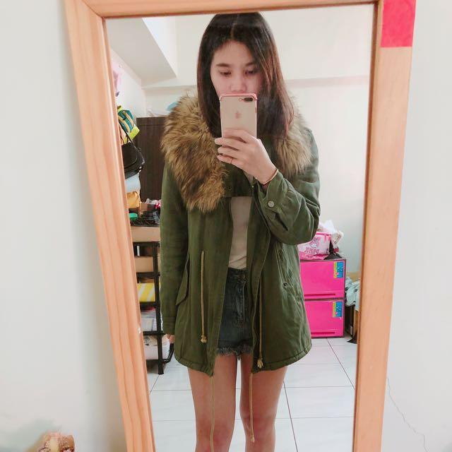 軍綠內鋪棉大衣外套