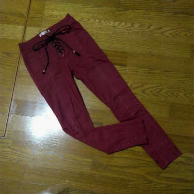 酒紅色綁帶拉鍊高腰褲