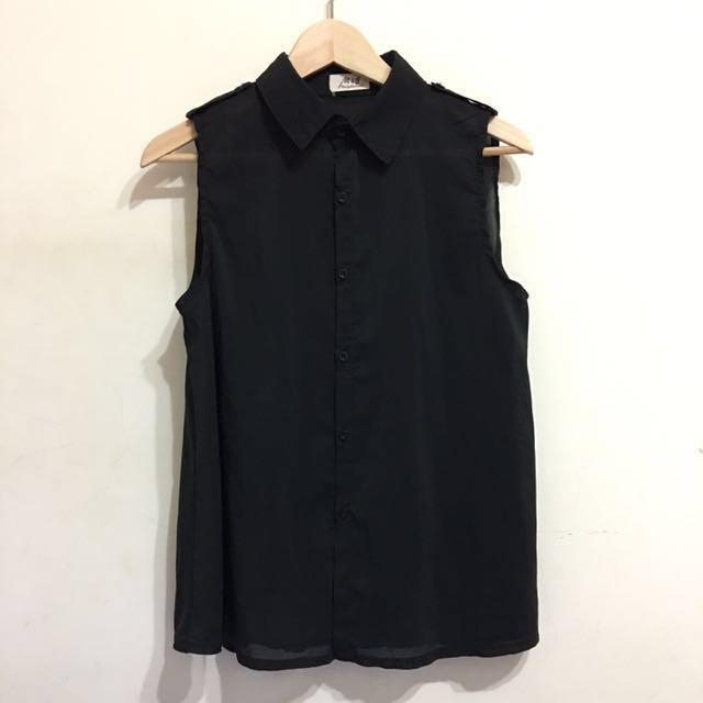 黑色無袖雪紡上衣 #我的女裝可超取