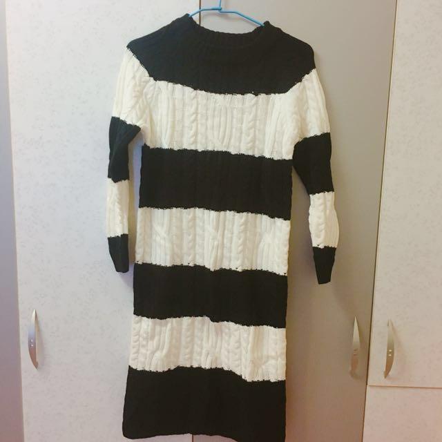 雙色麻花開衩 毛衣洋裝