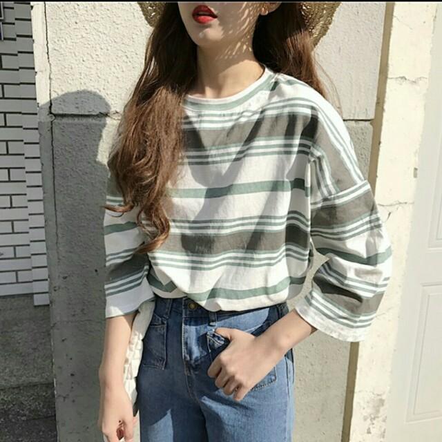 韓系 條紋上衣