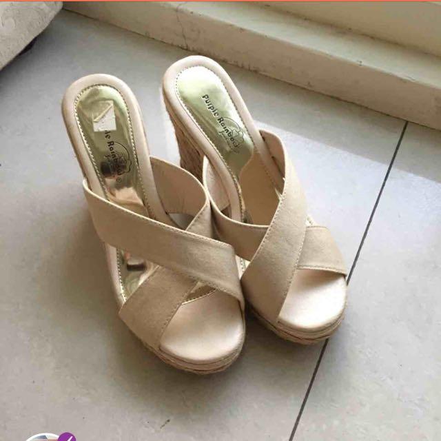 楔型麻編 裸色 杏色 氣質高跟鞋 厚底