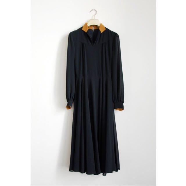 古著洋裝 / 黑色黃色 / 日製 / 優雅實穿