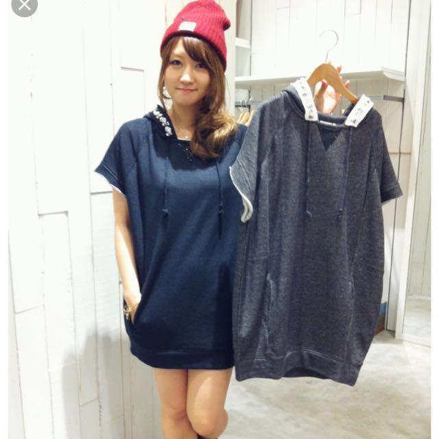 [二手]日本品牌 E hyphen (EH) 寶石珠珠領連帽連身op/長版上衣 深灰