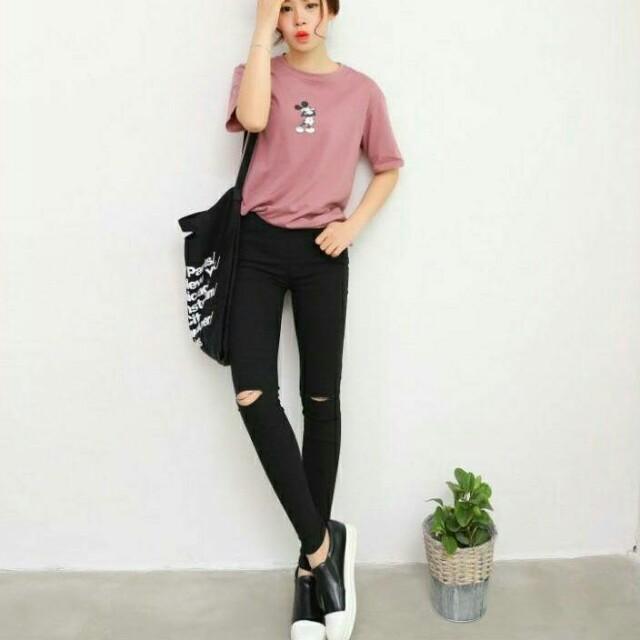 韓版黑色刷破窄管褲 M號