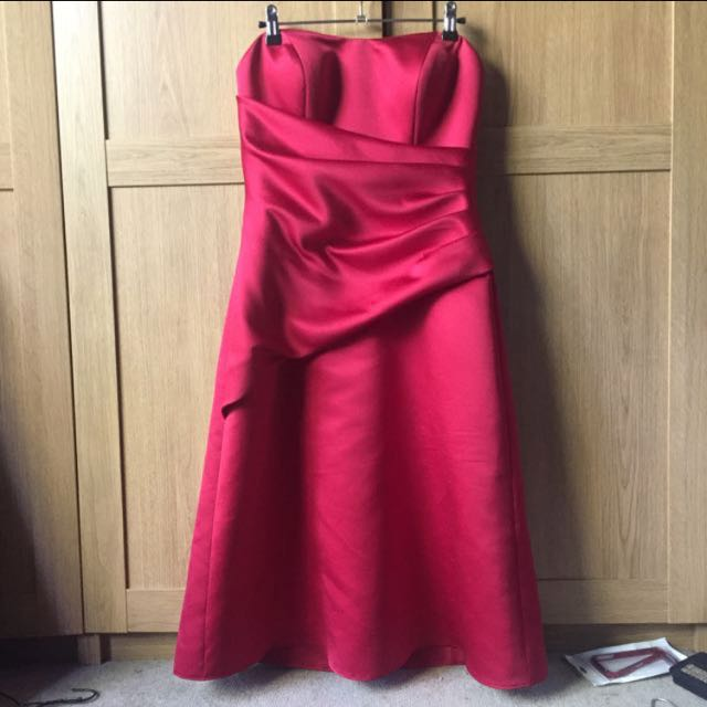 Angeline Red Strapless Formal Dress Size 12