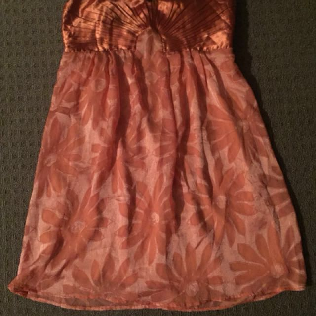 Apricot/gold cocktail/summer dress size large