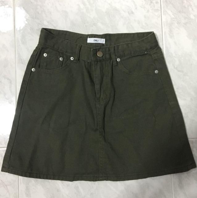 Army Green Denim Skirt