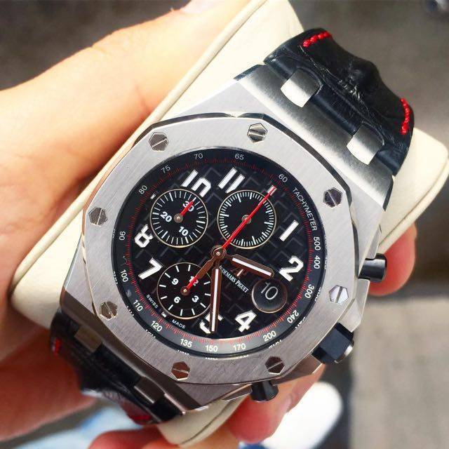 Audemars piguet vampire royal oak offshore roo 26470st ap black red luxury watches on carousell for Royal oak offshore vampire
