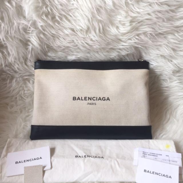 Balenciaga Black and White Clutch