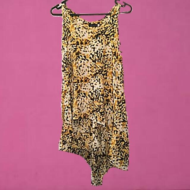BARKINS Leopard print o/s top or beach dress small