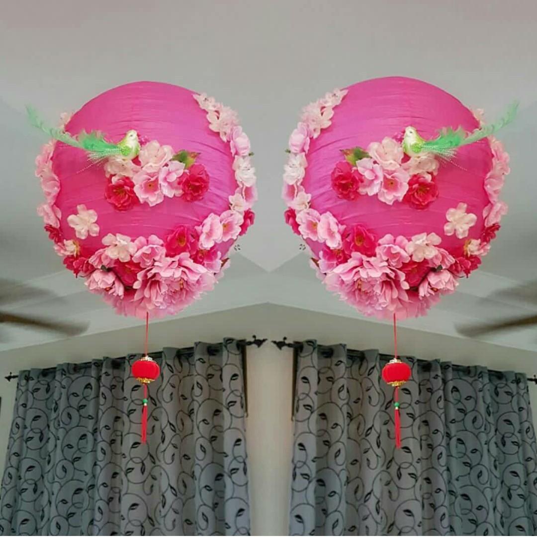 Big Handmade Dark Pink 3D Flower/ Floral Lanterns