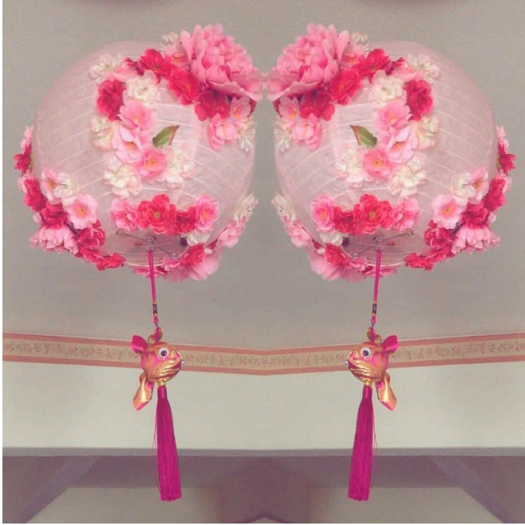 Big Handmade Light Pink 3D Flower/ Floral Lanterns