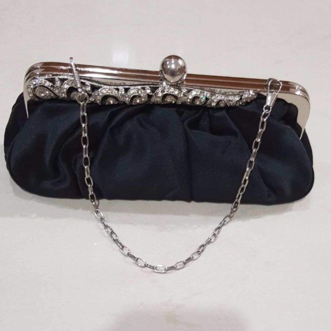 Black Satin Clutch with Bejewelled Top