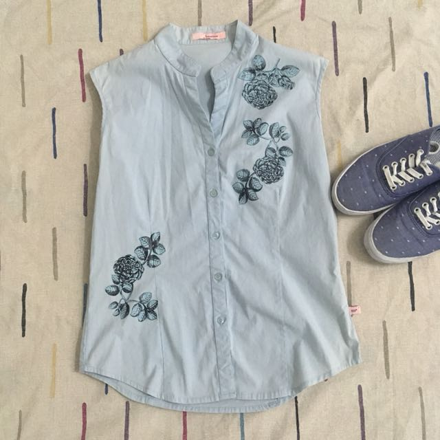 Blue Sleeveless Blouse