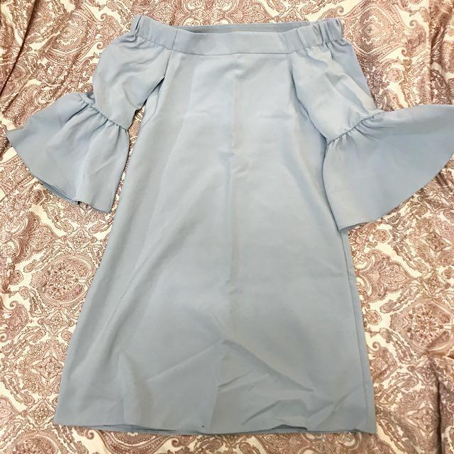 BNWT ASOS Off Shoulder Baby Blue Dress