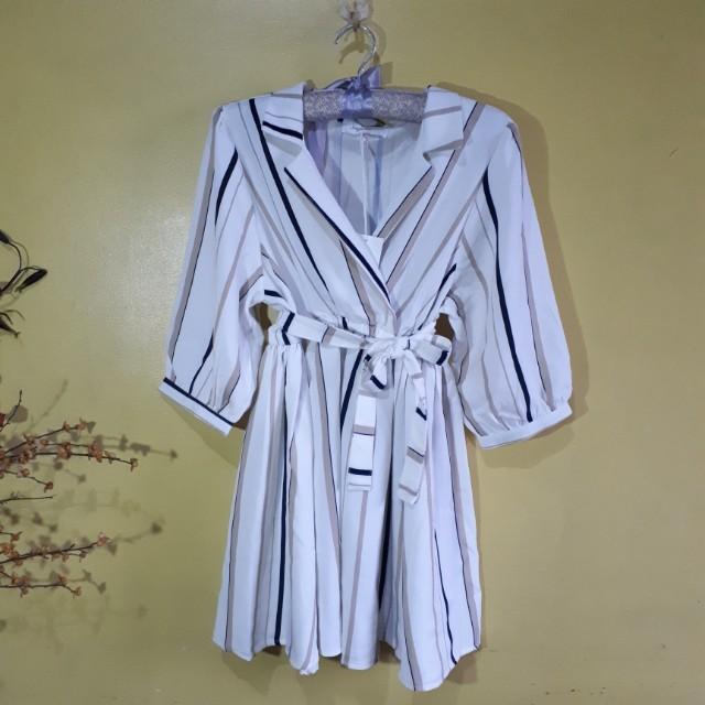 BNWT Stripe Collared Wrap Dress