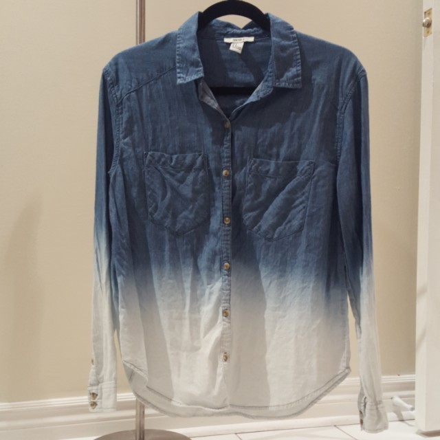 Button up denim ombre top