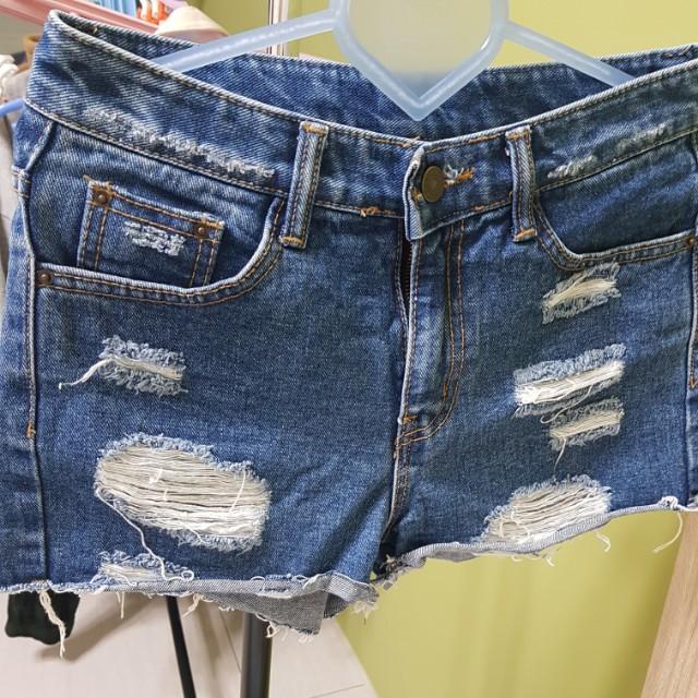 [百元]BY JEAN 牛仔短褲 S 26腰