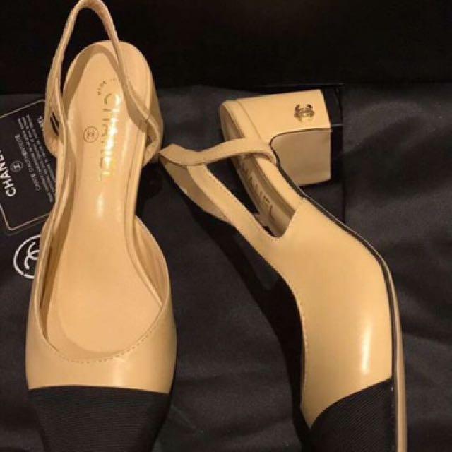 Chanel Sling Back Block Heels