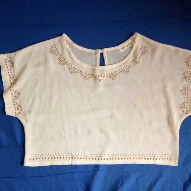 Cream cropped top with studs