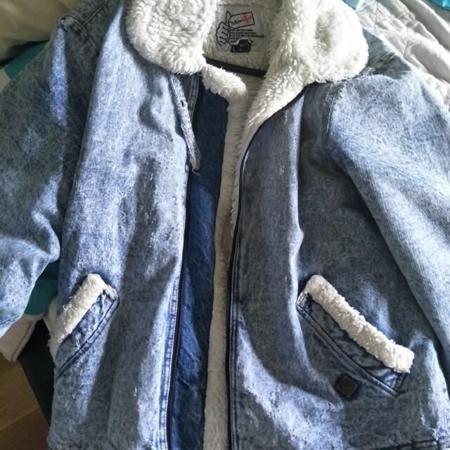 Denim fur jacket large