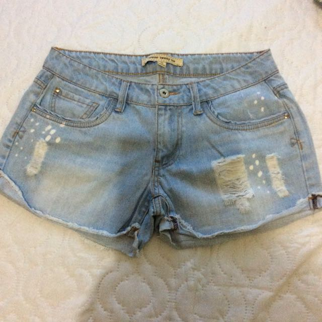 F21 tattered shorts