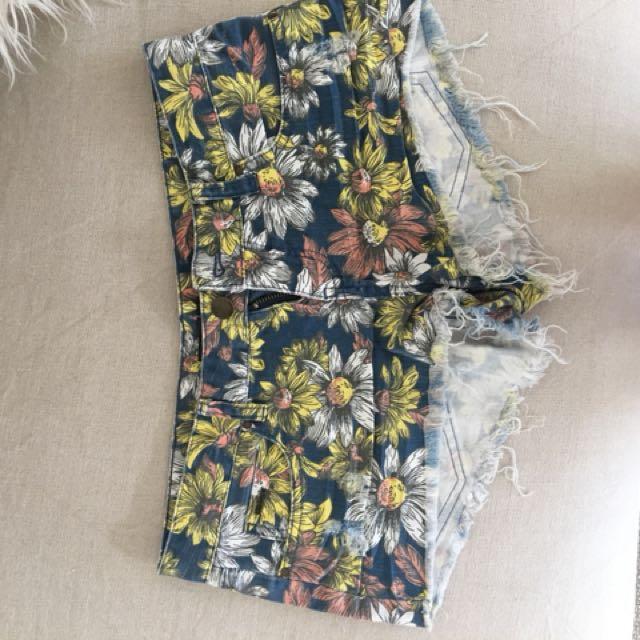 Floral billabong denim shorts