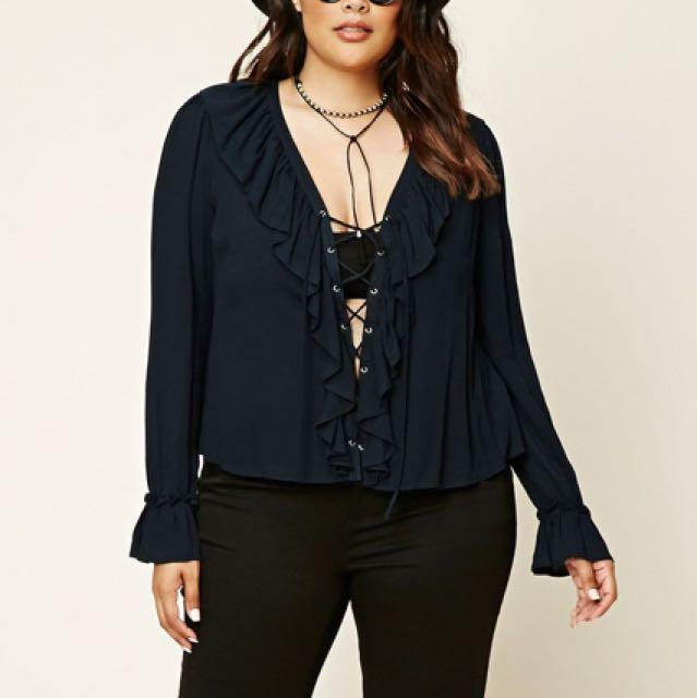 Forever 21 + ruffle blouse