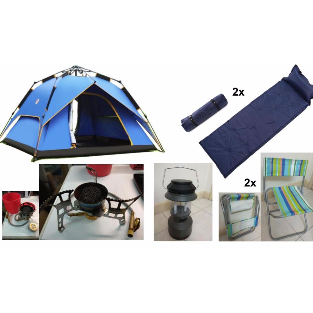 new concept e48f7 d2640 Full Camping Set (tent, mat, stove, lamp, chair)