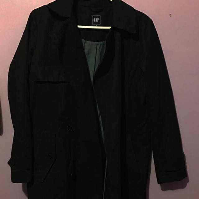 GAP Black Trench Coat w/ Belt ($20 Size M)