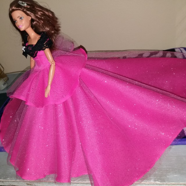 Glittered Hot Pink Long Trail Barbie Gown, Babies & Kids, Toys on ...