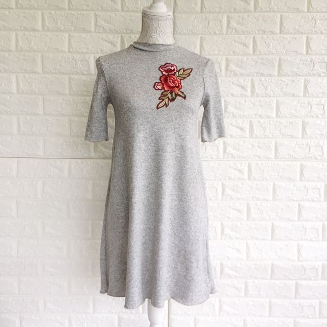 Gray Floral Patched Dress