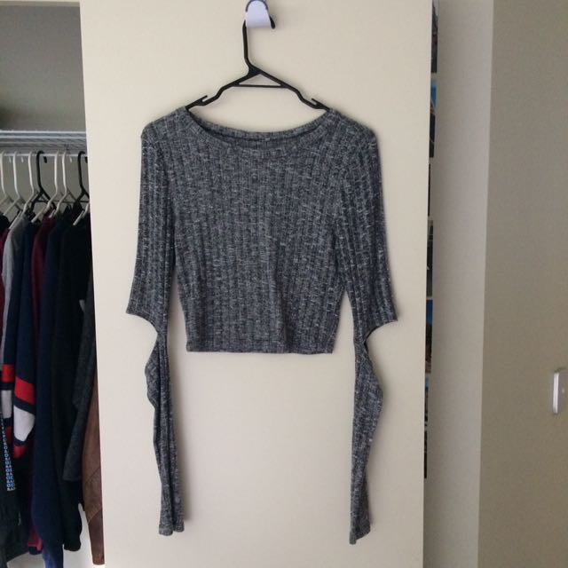 Grey crop top with cut out sleeves