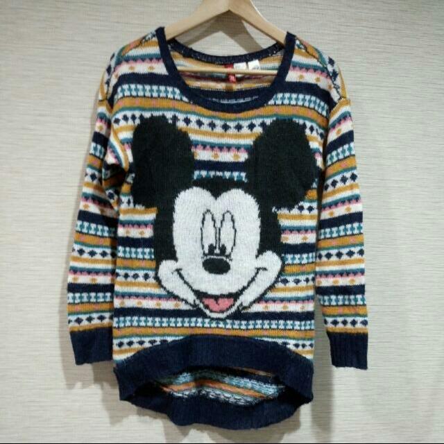 H&M條紋米奇針織毛衣