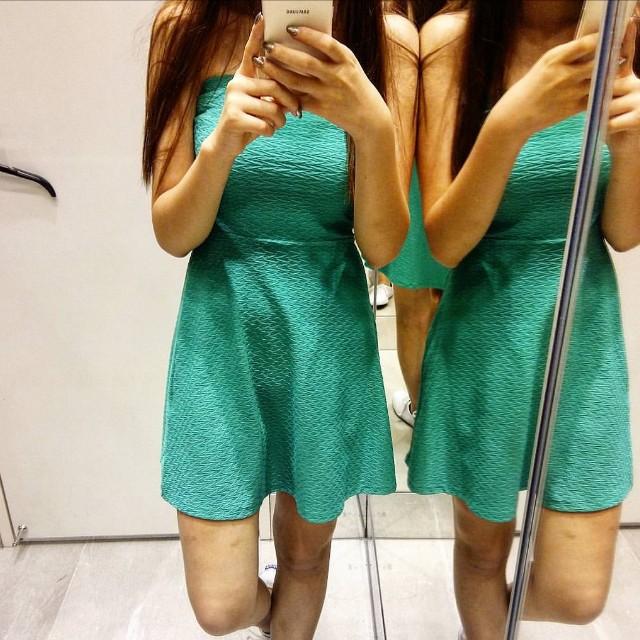 H&M 超美tiffany綠洋裝