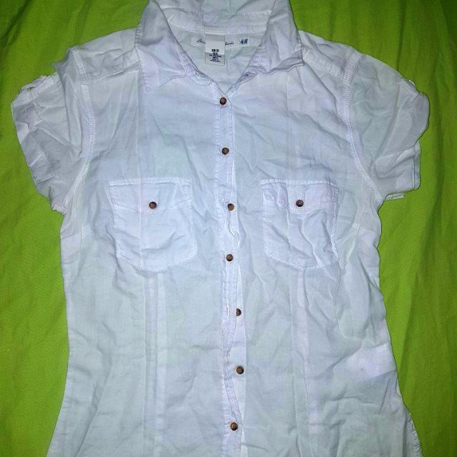 H&M white cotton polo