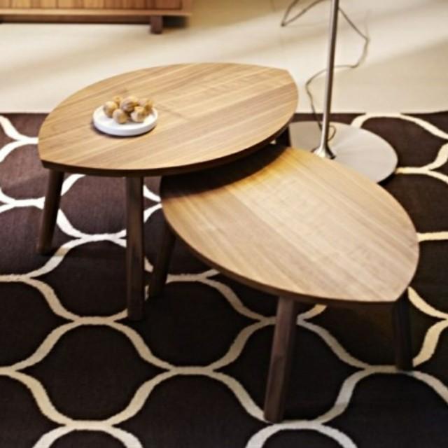 Ikea Stockholm Leaf Shape Walnut Wood Coffee Table Furniture Tables Chairs On Carou