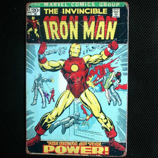Iron Man Vintage Tin Metal Avengers Superhero Wall Display Decor